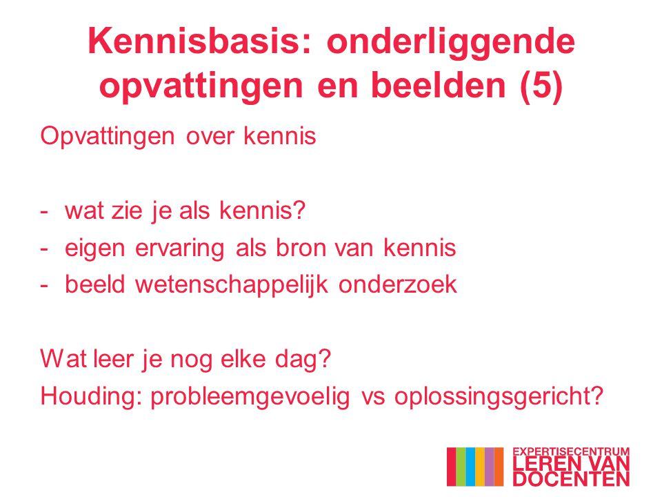 Kennisbasis: onderliggende opvattingen en beelden (5) Opvattingen over kennis -wat zie je als kennis? -eigen ervaring als bron van kennis -beeld weten