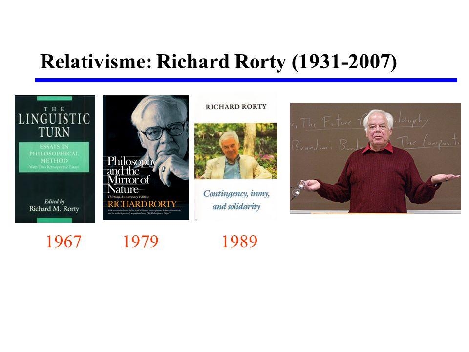 • Relativisme en nihilisme • Pragmatisme en de taak van de filosofie • Nietzsche als inspirator voor Rorty • Rorty's ethiek: wat kunnen we rechtvaardigen.