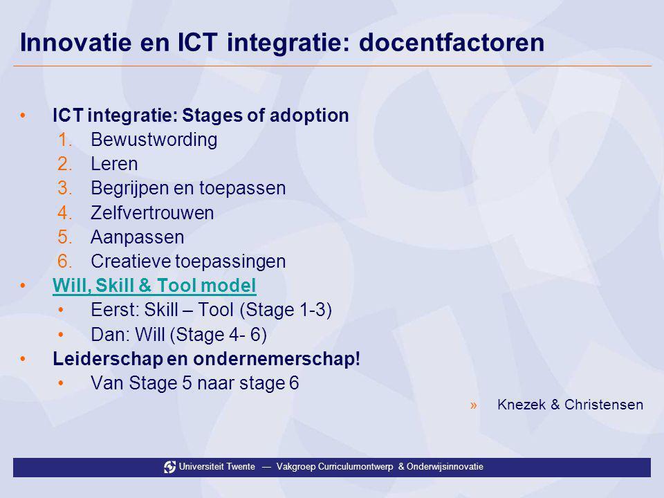 Universiteit Twente — Vakgroep Curriculumontwerp & Onderwijsinnovatie Innovatie en ICT integratie: docentfactoren •ICT integratie: Stages of adoption