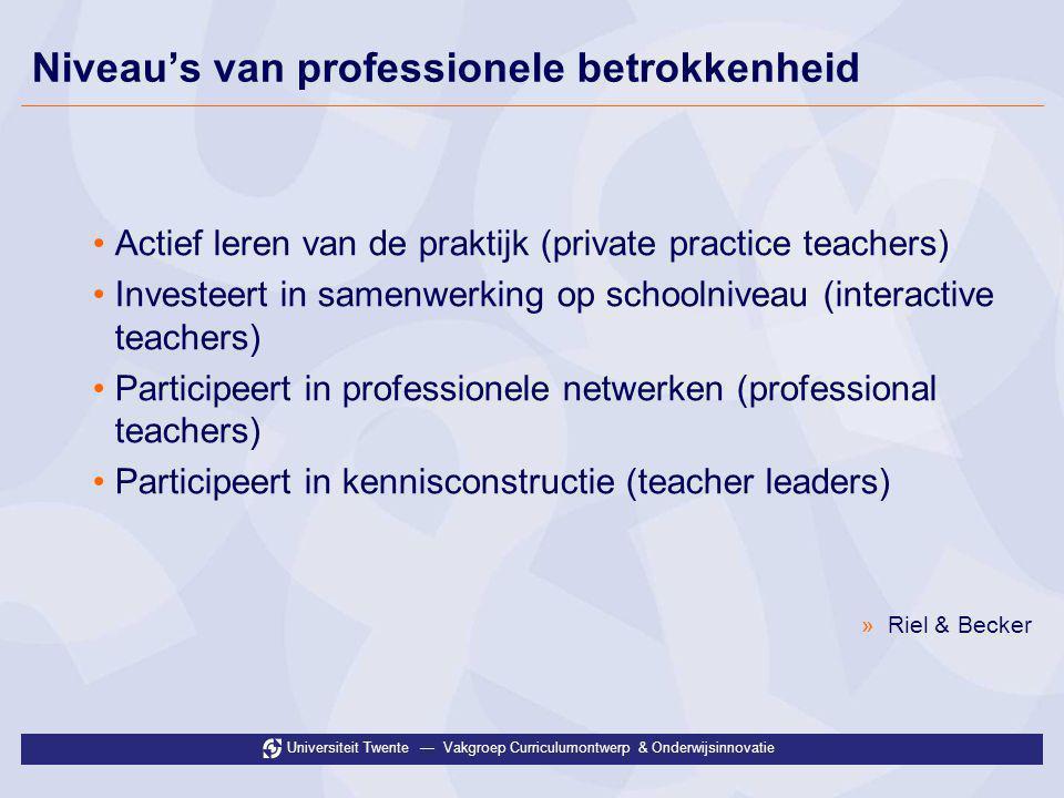 Universiteit Twente — Vakgroep Curriculumontwerp & Onderwijsinnovatie Niveau's van professionele betrokkenheid •Actief leren van de praktijk (private