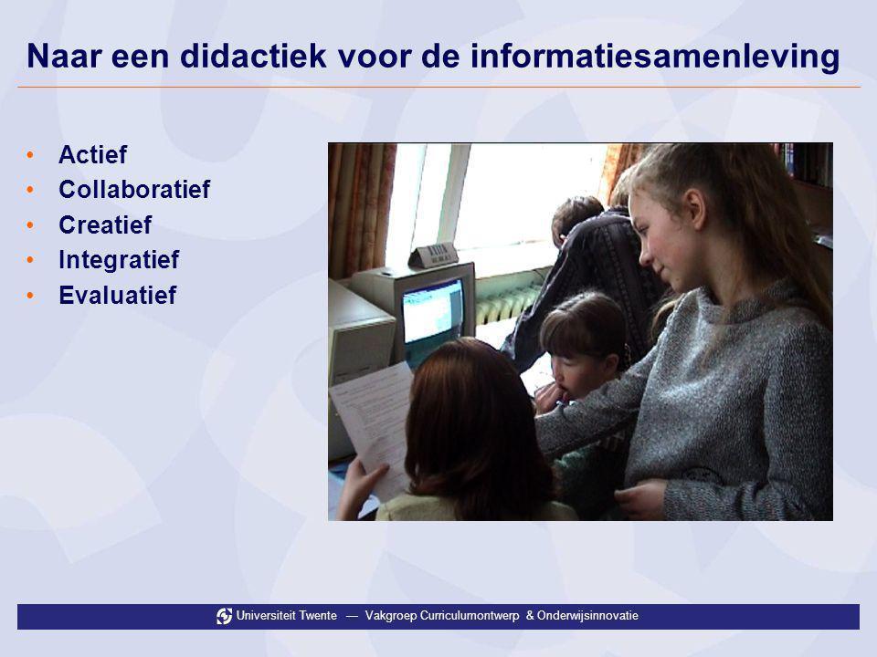 Universiteit Twente — Vakgroep Curriculumontwerp & Onderwijsinnovatie Naar een didactiek voor de informatiesamenleving •Actief •Collaboratief •Creatie