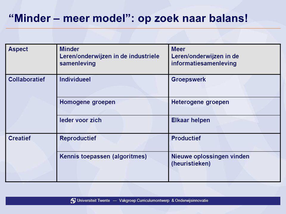 """Universiteit Twente — Vakgroep Curriculumontwerp & Onderwijsinnovatie """"Minder – meer model"""": op zoek naar balans! AspectMinder Leren/onderwijzen in de"""