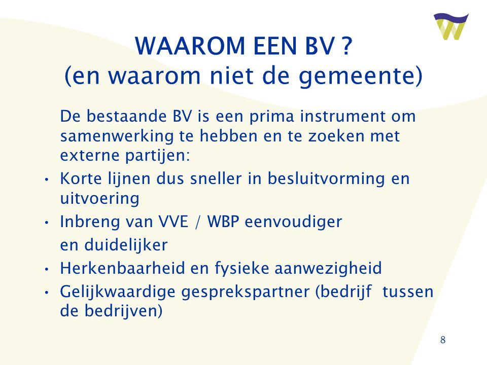 8 WAAROM EEN BV .