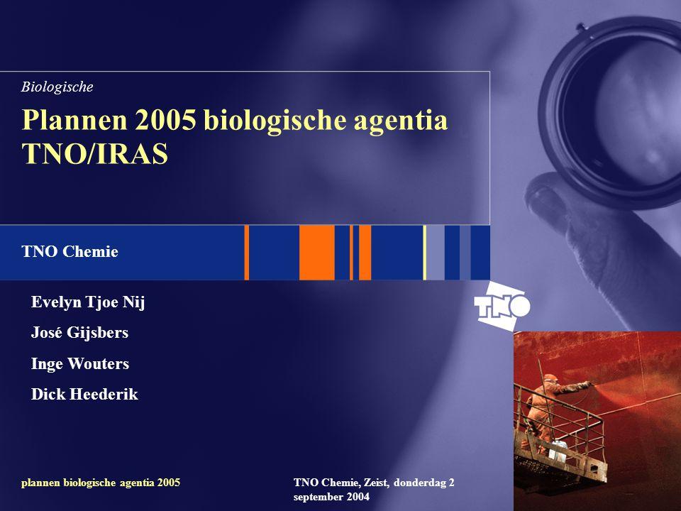 TNO Chemie TNO Chemie, Zeist, donderdag 2 september 2004 plannen biologische agentia 2005 Plannen 2005 biologische agentia TNO/IRAS Biologische Evelyn