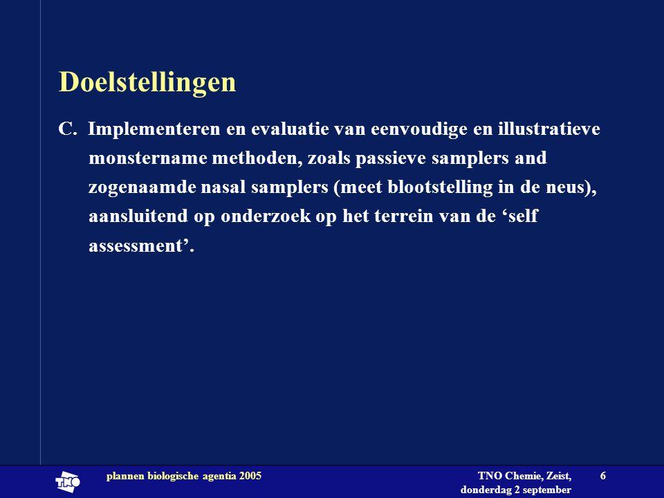 TNO Chemie, Zeist, donderdag 2 september 2004 plannen biologische agentia 20056 Doelstellingen C. Implementeren en evaluatie van eenvoudige en illustr