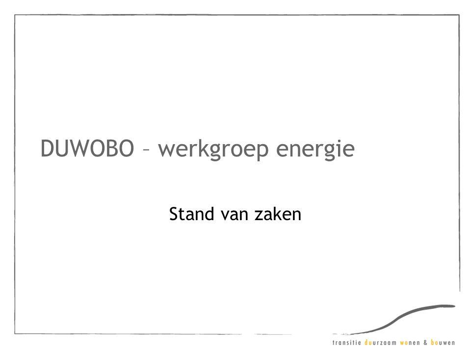 DUWOBO – werkgroep energie Stand van zaken