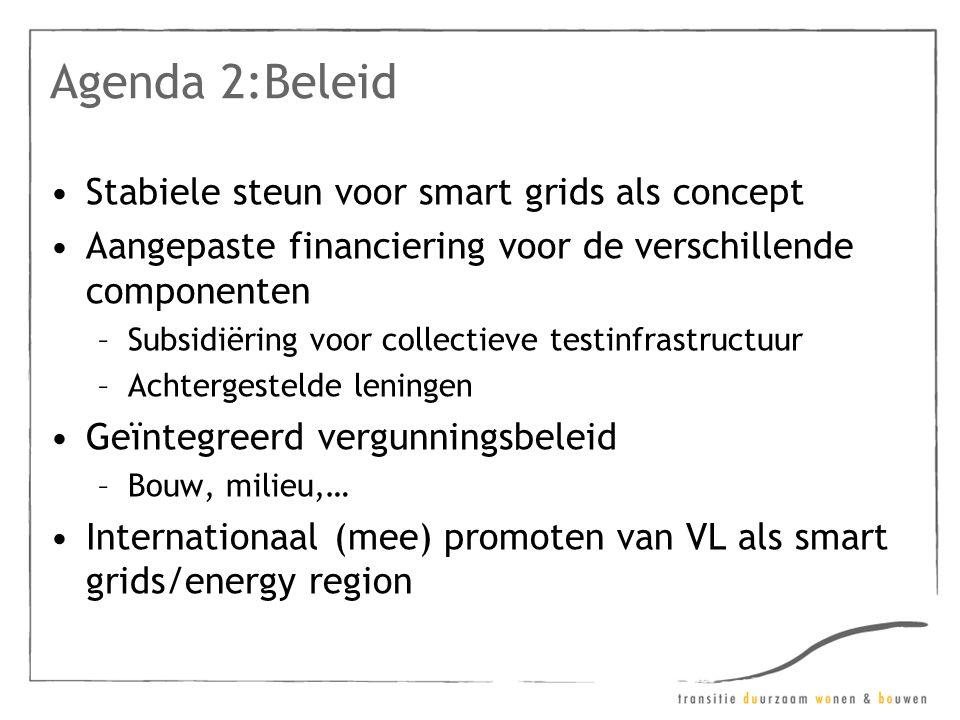 Agenda 2:Beleid •Stabiele steun voor smart grids als concept •Aangepaste financiering voor de verschillende componenten –Subsidiëring voor collectieve testinfrastructuur –Achtergestelde leningen •Geïntegreerd vergunningsbeleid –Bouw, milieu,… •Internationaal (mee) promoten van VL als smart grids/energy region