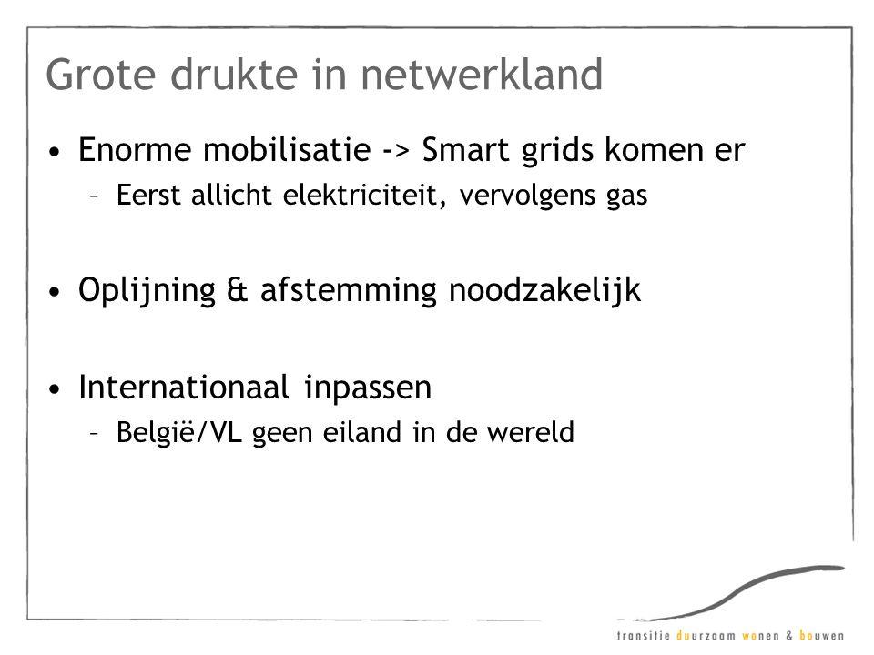 Grote drukte in netwerkland •Enorme mobilisatie -> Smart grids komen er –Eerst allicht elektriciteit, vervolgens gas •Oplijning & afstemming noodzakelijk •Internationaal inpassen –België/VL geen eiland in de wereld