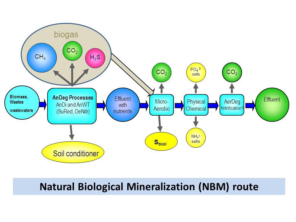 biogas Biomass, Wastes wastewaters AnDeg Processes AnDi and AnWT (SuRed, DeNitr) Soil conditioner Micro- Aerobic Physical Chemical AerDeg Nitrificatio