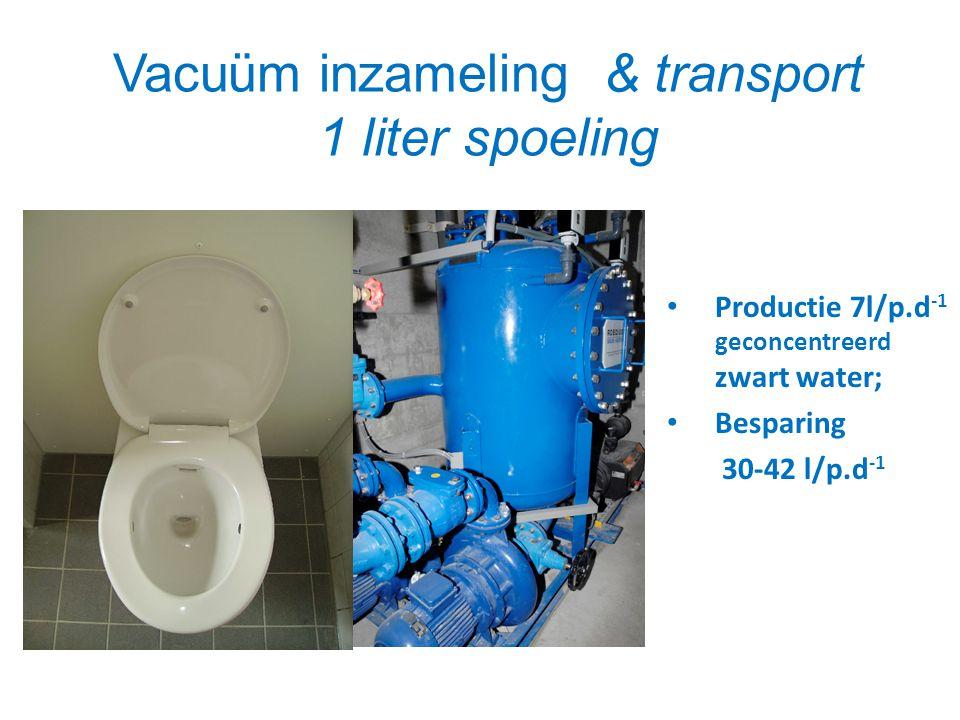 Vacuüm inzameling & transport 1 liter spoeling • Productie 7l/p.d -1 geconcentreerd zwart water; • Besparing 30-42 l/p.d -1