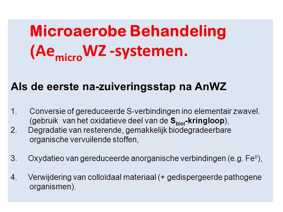 Microaerobe Behandeling ( Ae micro WZ -systemen. Als de eerste na-zuiveringsstap na AnWZ 1.Conversie of gereduceerde S-verbindingen ino elementair zwa
