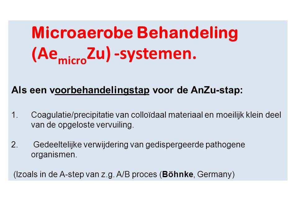 Microaerobe Behandeling ( Ae micro Zu) -systemen. Als een voorbehandelingstap voor de AnZu-stap: 1.Coagulatie/precipitatie van colloïdaal materiaal en