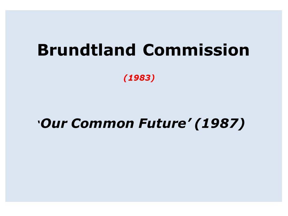 Brundtland Commission (1983) ' Our Common Future' (1987)