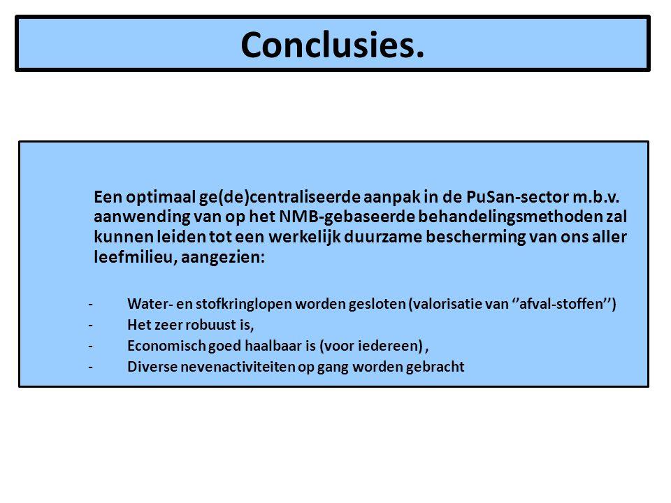 Conclusies. Een optimaal ge(de)centraliseerde aanpak in de PuSan-sector m.b.v. aanwending van op het NMB-gebaseerde behandelingsmethoden zal kunnen le