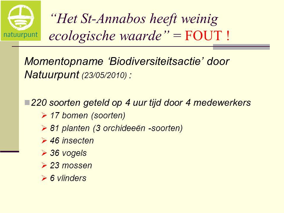 """""""Het St-Annabos heeft weinig ecologische waarde"""" = FOUT ! Momentopname 'Biodiversiteitsactie' door Natuurpunt (23/05/2010) :  220 soorten geteld op 4"""