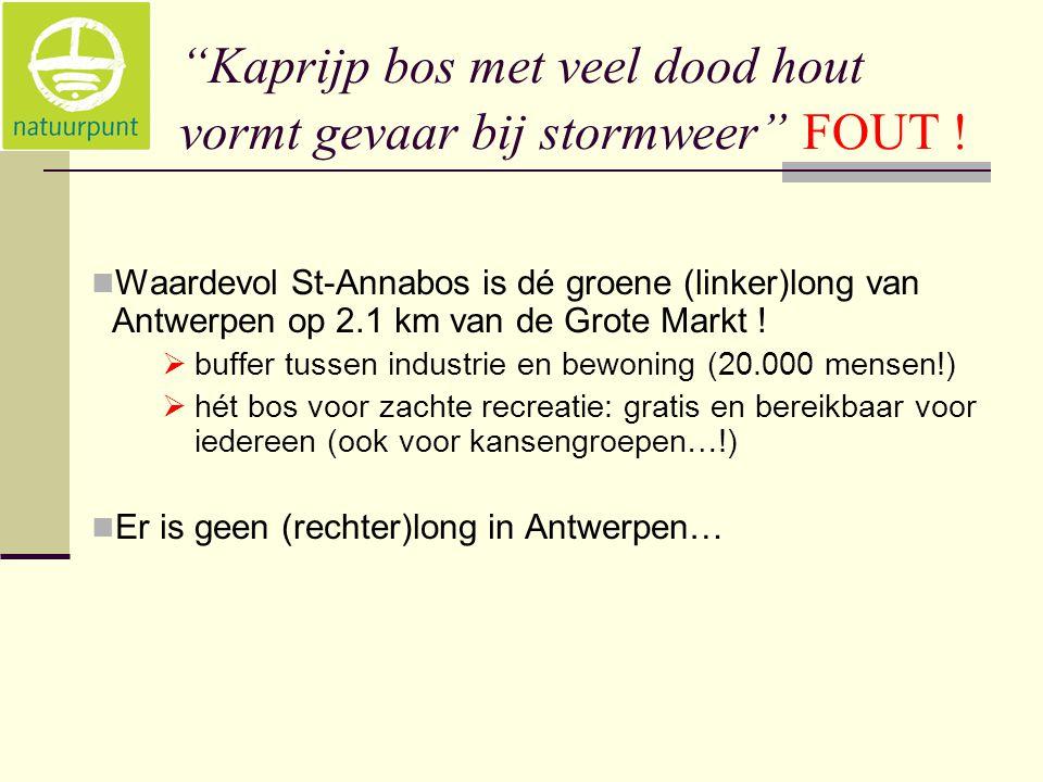 """""""Kaprijp bos met veel dood hout vormt gevaar bij stormweer"""" FOUT !  Waardevol St-Annabos is dé groene (linker)long van Antwerpen op 2.1 km van de Gro"""