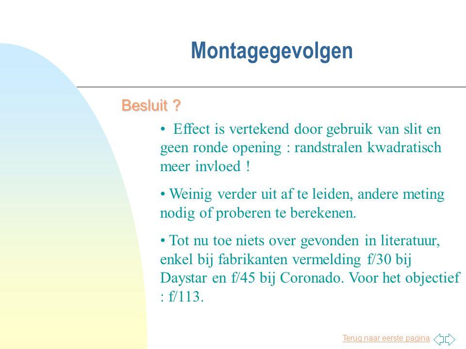 Terug naar eerste pagina Montagegevolgen Besluit ? • Effect is vertekend door gebruik van slit en geen ronde opening : randstralen kwadratisch meer in