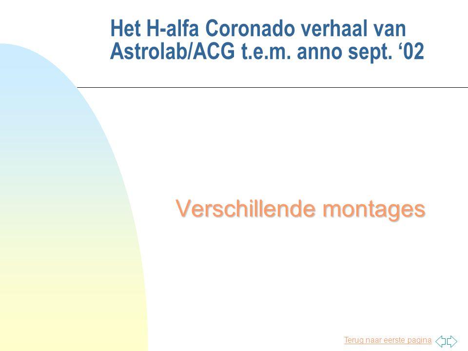 Terug naar eerste pagina Het H-alfa Coronado verhaal van Astrolab/ACG t.e.m. anno sept. '02 Verschillende montages