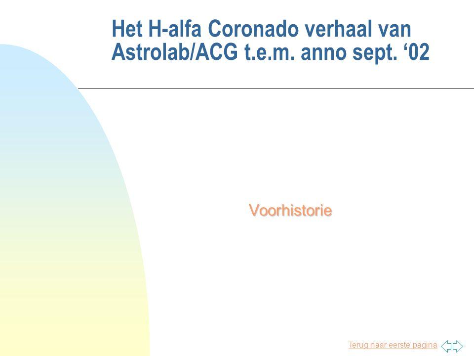 Terug naar eerste pagina Het H-alfa Coronado verhaal van Astrolab/ACG t.e.m. anno sept. '02 Voorhistorie