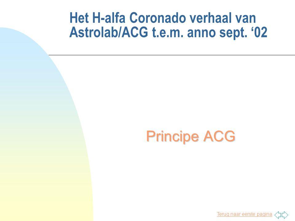 Terug naar eerste pagina Het H-alfa Coronado verhaal van Astrolab/ACG t.e.m. anno sept. '02 Principe ACG