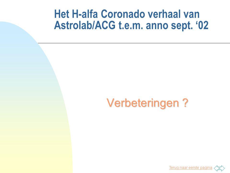 Terug naar eerste pagina Het H-alfa Coronado verhaal van Astrolab/ACG t.e.m. anno sept. '02 Verbeteringen ?