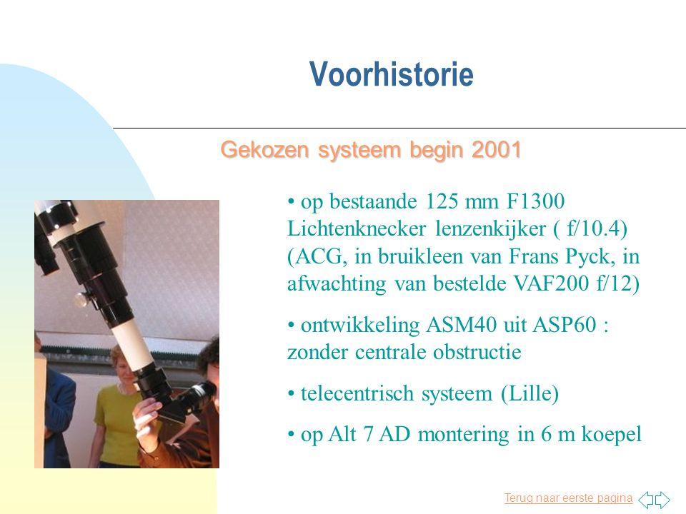 Terug naar eerste pagina Voorhistorie Gekozen systeem begin 2001 • op bestaande 125 mm F1300 Lichtenknecker lenzenkijker ( f/10.4) (ACG, in bruikleen