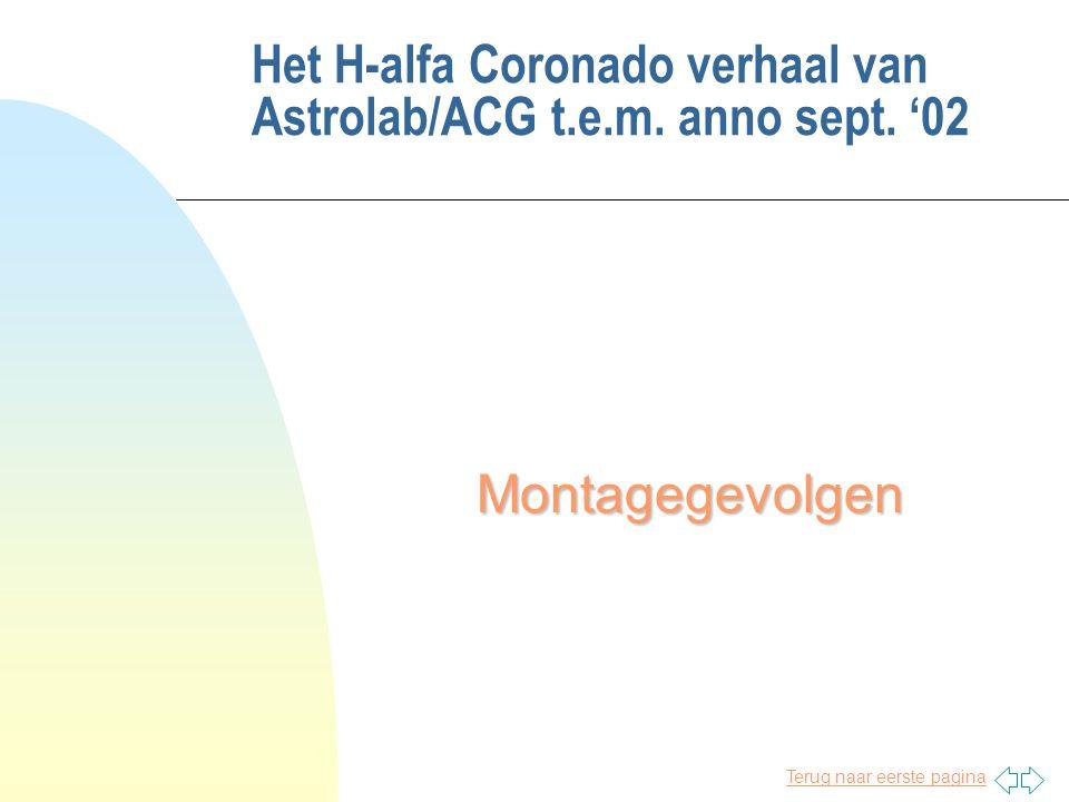 Terug naar eerste pagina Het H-alfa Coronado verhaal van Astrolab/ACG t.e.m. anno sept. '02 Montagegevolgen
