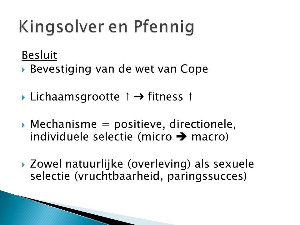 Besluit  Bevestiging van de wet van Cope  Lichaamsgrootte ↑ ➜ fitness ↑  Mechanisme = positieve, directionele, individuele selectie (micro  macro)