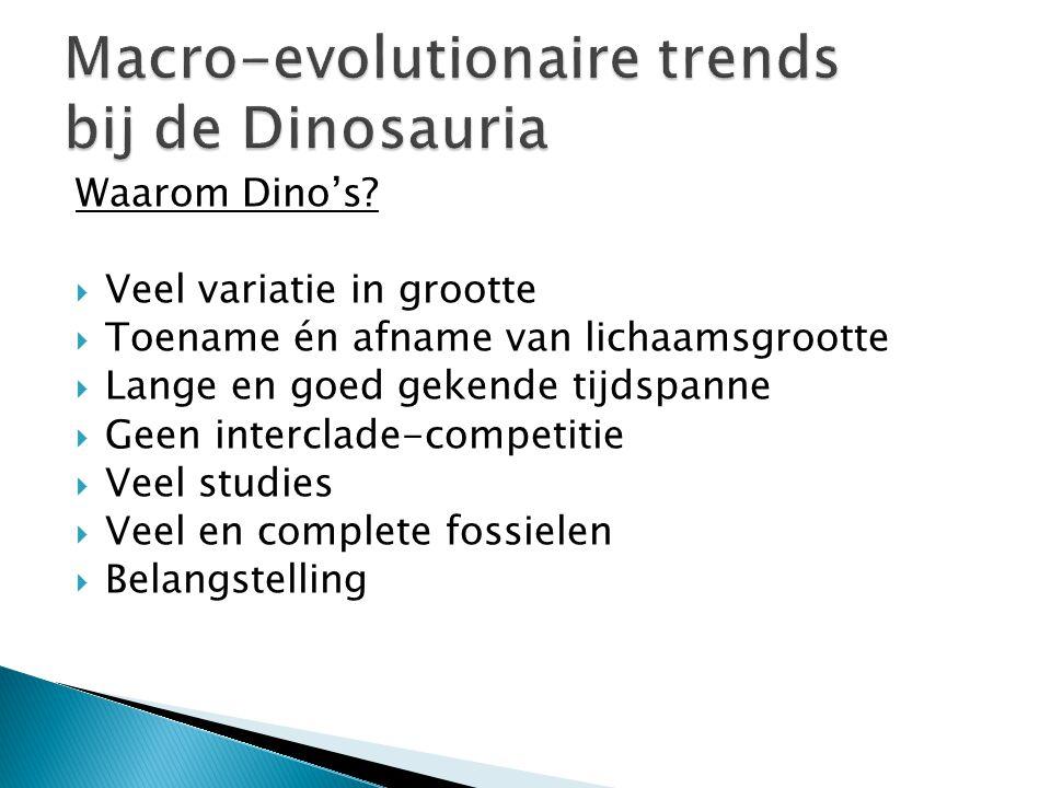 Waarom Dino's?  Veel variatie in grootte  Toename én afname van lichaamsgrootte  Lange en goed gekende tijdspanne  Geen interclade-competitie  Ve
