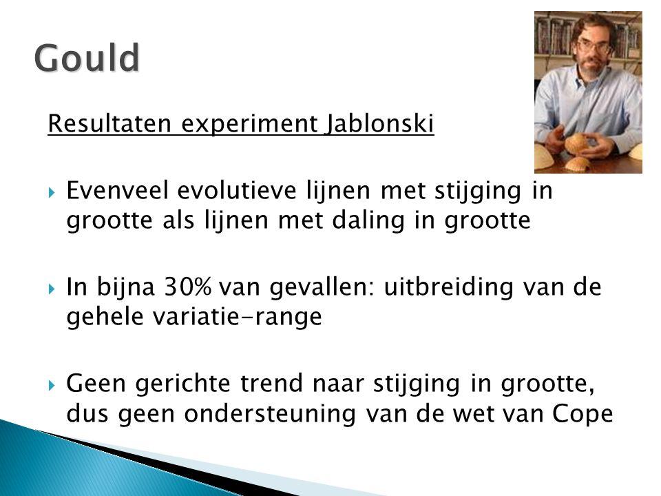 Resultaten experiment Jablonski  Evenveel evolutieve lijnen met stijging in grootte als lijnen met daling in grootte  In bijna 30% van gevallen: uitbreiding van de gehele variatie-range  Geen gerichte trend naar stijging in grootte, dus geen ondersteuning van de wet van Cope Gould