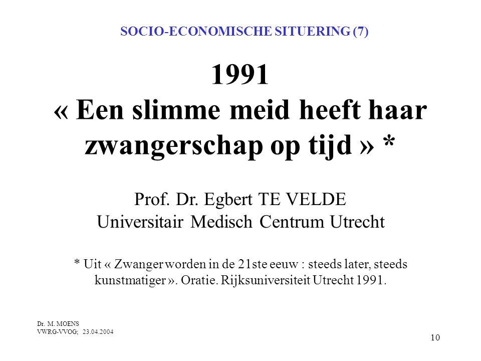 10 1991 « Een slimme meid heeft haar zwangerschap op tijd » * SOCIO-ECONOMISCHE SITUERING (7) Prof. Dr. Egbert TE VELDE Universitair Medisch Centrum U