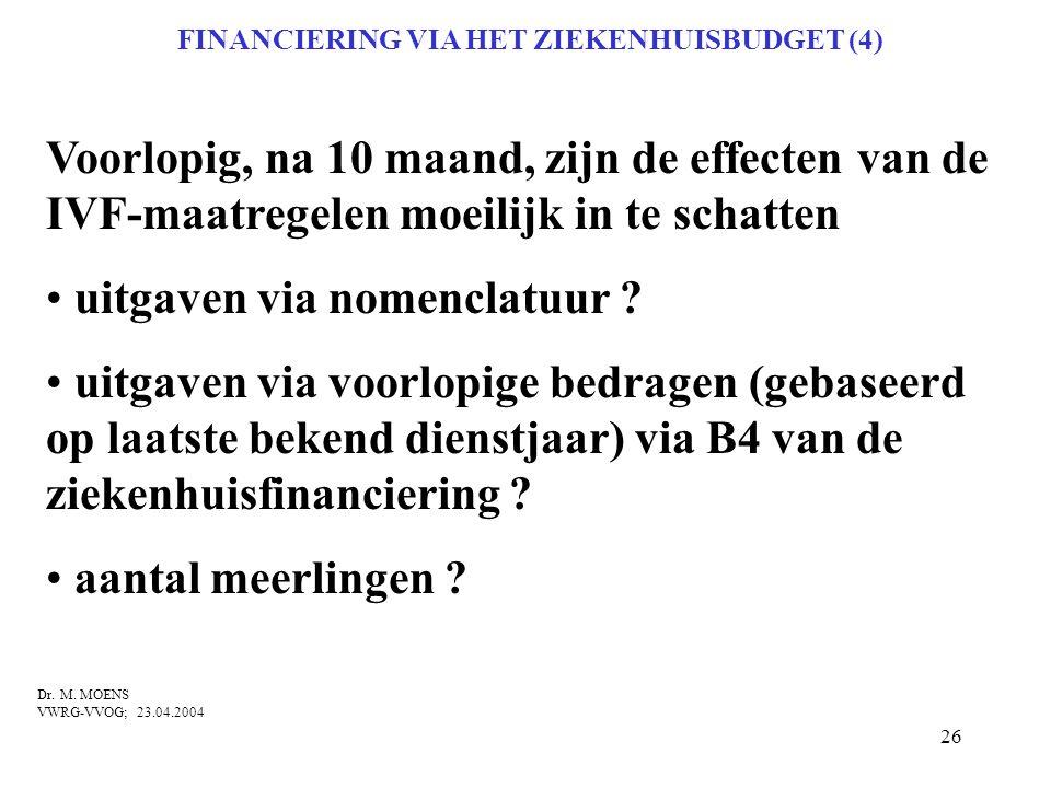 26 FINANCIERING VIA HET ZIEKENHUISBUDGET (4) Voorlopig, na 10 maand, zijn de effecten van de IVF-maatregelen moeilijk in te schatten • uitgaven via no