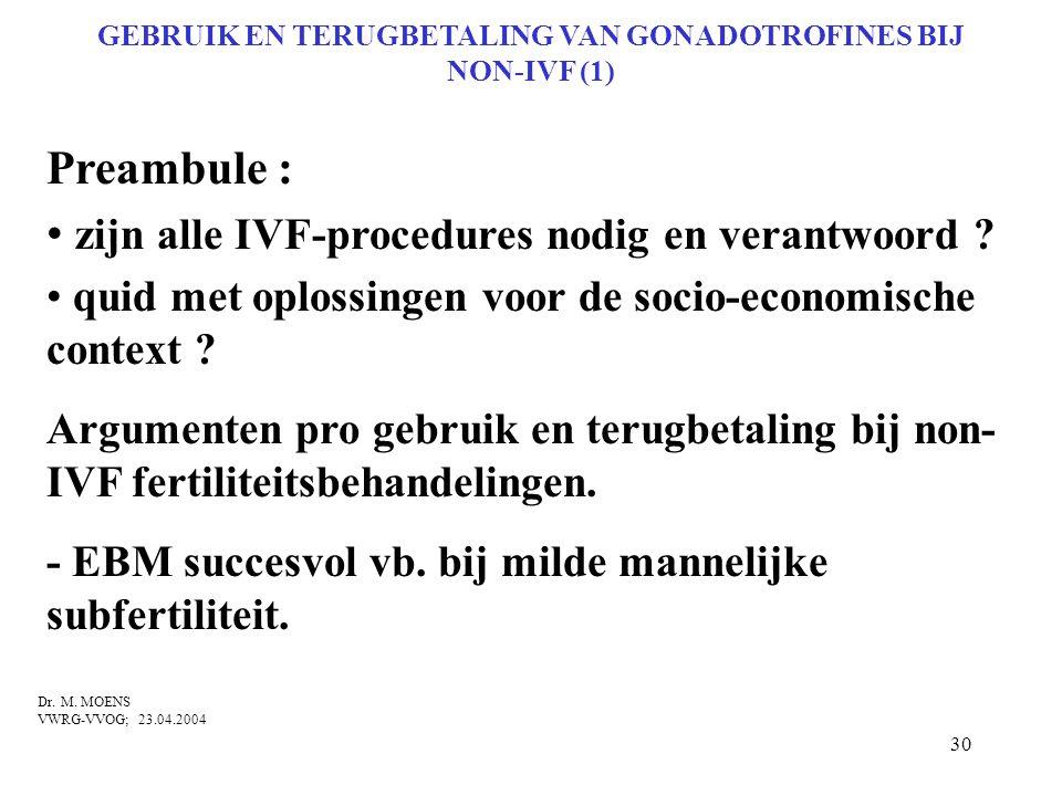 30 GEBRUIK EN TERUGBETALING VAN GONADOTROFINES BIJ NON-IVF (1) Preambule : • zijn alle IVF-procedures nodig en verantwoord ? • quid met oplossingen vo