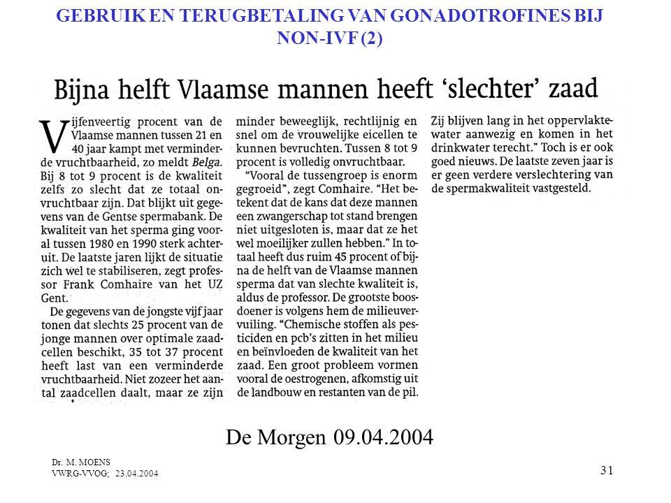 31 Dr. M. MOENS VWRG-VVOG; 23.04.2004 De Morgen 09.04.2004 GEBRUIK EN TERUGBETALING VAN GONADOTROFINES BIJ NON-IVF (2)