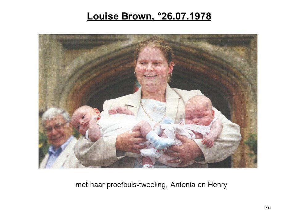 36 Louise Brown, °26.07.1978 met haar proefbuis-tweeling, Antonia en Henry