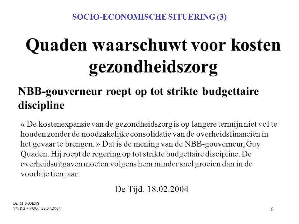 6 Quaden waarschuwt voor kosten gezondheidszorg NBB-gouverneur roept op tot strikte budgettaire discipline Dr. M. MOENS VWRG-VVOG; 23.04.2004 De Tijd.