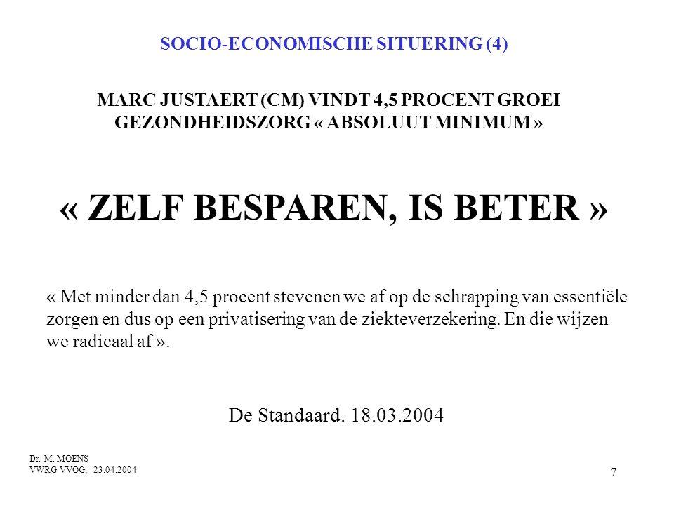 7 MARC JUSTAERT (CM) VINDT 4,5 PROCENT GROEI GEZONDHEIDSZORG « ABSOLUUT MINIMUM » Dr. M. MOENS VWRG-VVOG; 23.04.2004 De Standaard. 18.03.2004 « Met mi