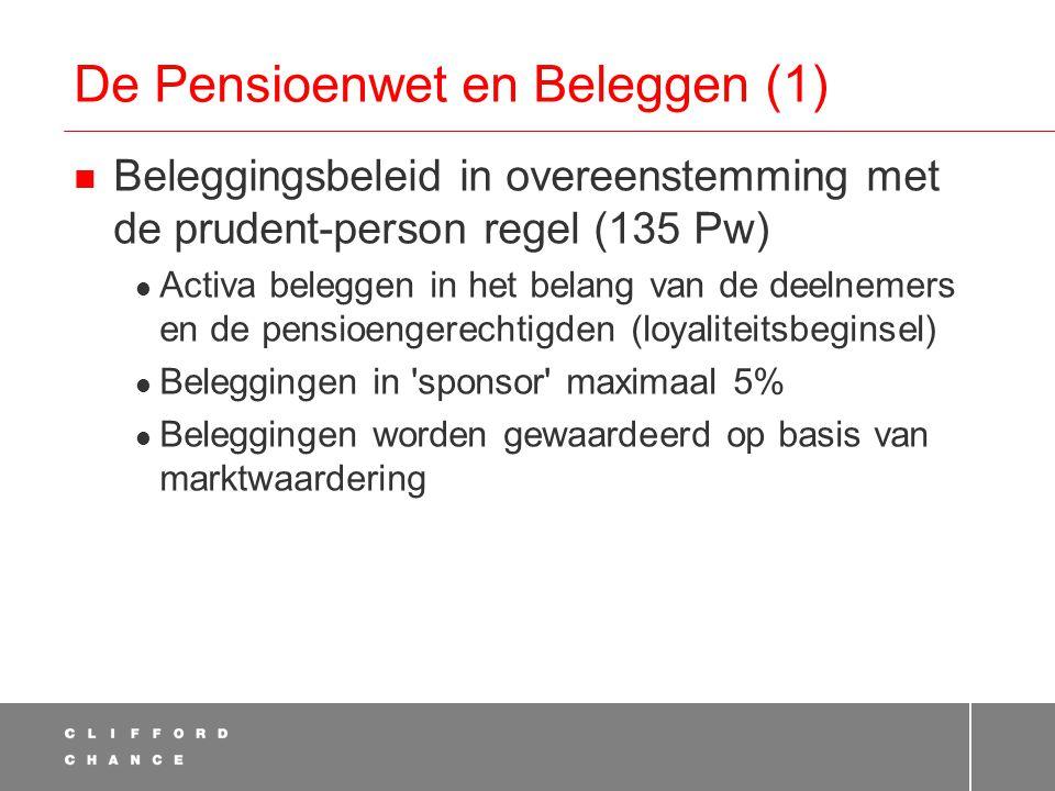 De Pensioenwet en Beleggen (1)  Beleggingsbeleid in overeenstemming met de prudent-person regel (135 Pw)  Activa beleggen in het belang van de deelnemers en de pensioengerechtigden (loyaliteitsbeginsel)  Beleggingen in sponsor maximaal 5%  Beleggingen worden gewaardeerd op basis van marktwaardering