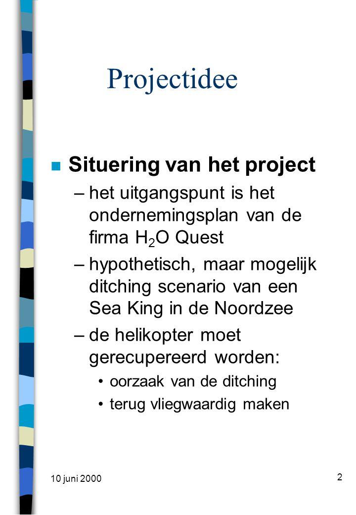 10 juni 2000 3 Projectidee (2) n Hypothesen en uitgangspunten –Positie op bodem –Coördinaten –Beschikbaarheid materieel –Beschikbaarheid personeel –Weersomstandigheden