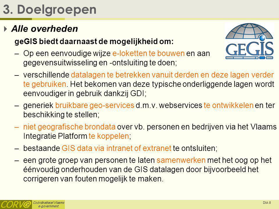 Coördinatiecel Vlaams e-government DIA 8 3. Doelgroepen  Alle overheden geGIS biedt daarnaast de mogelijkheid om: –Op een eenvoudige wijze e-loketten