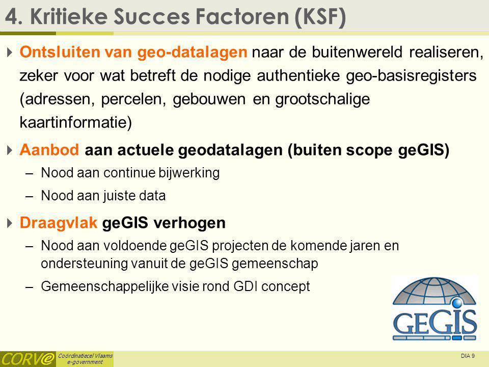 Coördinatiecel Vlaams e-government DIA 9 4. Kritieke Succes Factoren (KSF)  Ontsluiten van geo-datalagen naar de buitenwereld realiseren, zeker voor