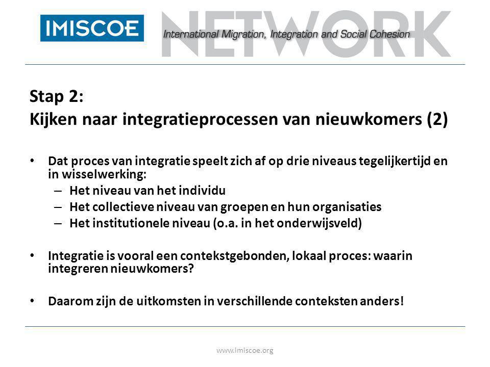Stap 2: Kijken naar integratieprocessen van nieuwkomers (2) • Dat proces van integratie speelt zich af op drie niveaus tegelijkertijd en in wisselwerk