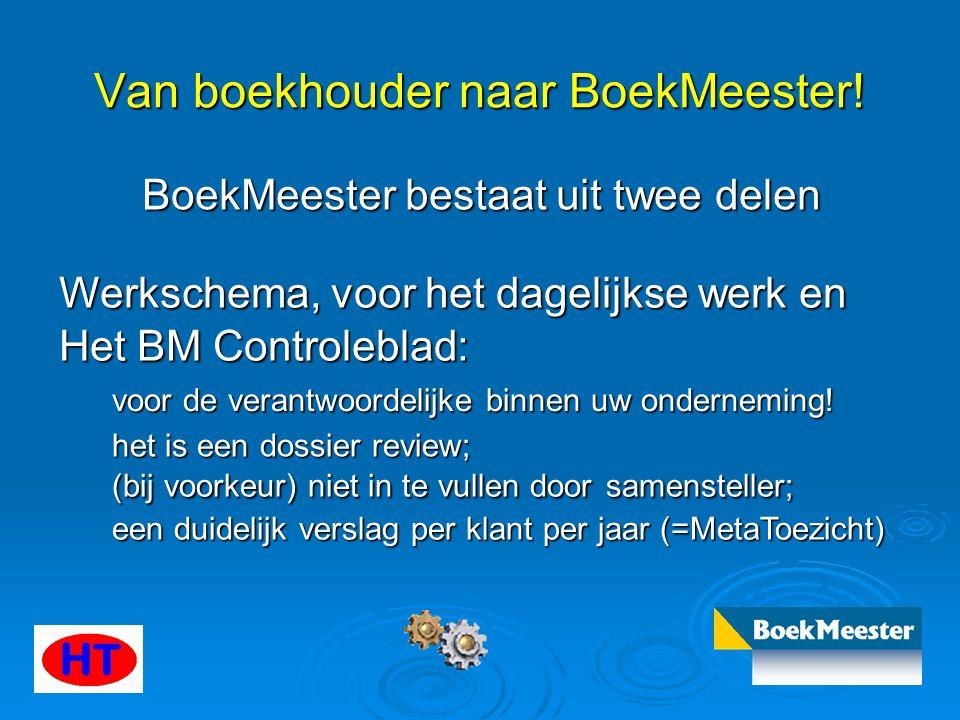 Van boekhouder naar BoekMeester! BoekMeester bestaat uit twee delen Werkschema, voor het dagelijkse werk en Het BM Controleblad: voor de verantwoordel