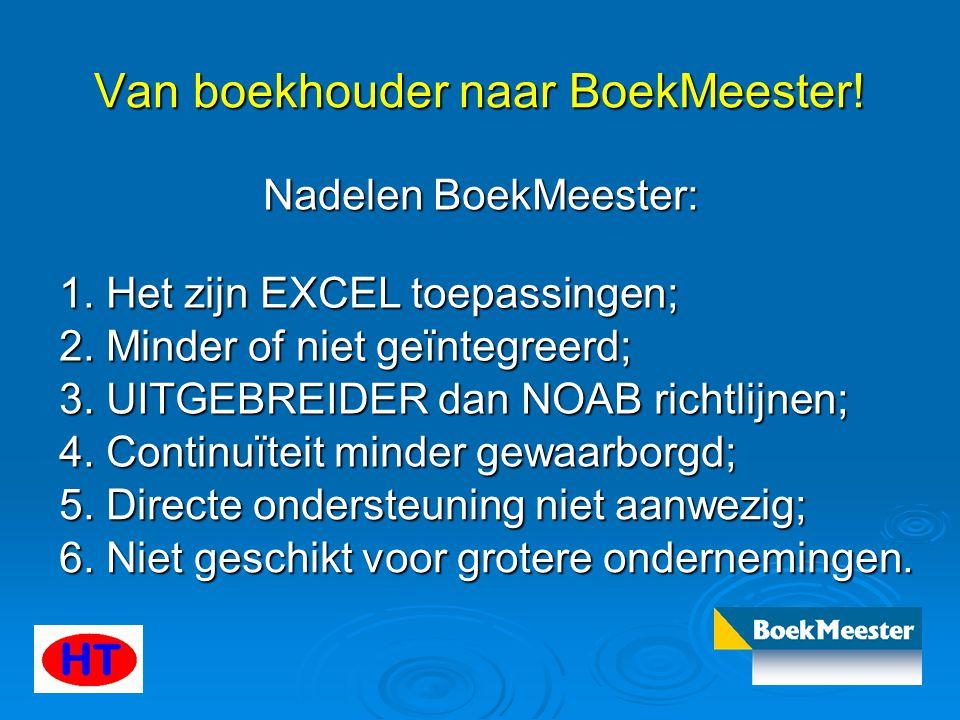 Van boekhouder naar BoekMeester! Nadelen BoekMeester: 1. Het zijn EXCEL toepassingen; 2. Minder of niet geïntegreerd; 3. UITGEBREIDER dan NOAB richtli