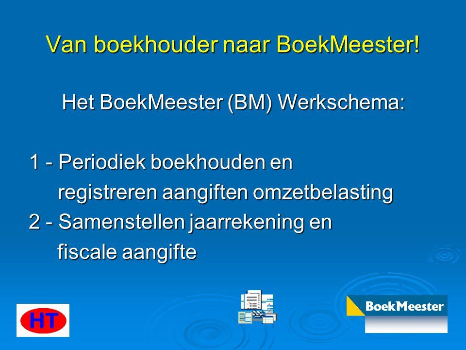 Van boekhouder naar BoekMeester! Het BoekMeester (BM) Werkschema: 1 - Periodiek boekhouden en registreren aangiften omzetbelasting registreren aangift