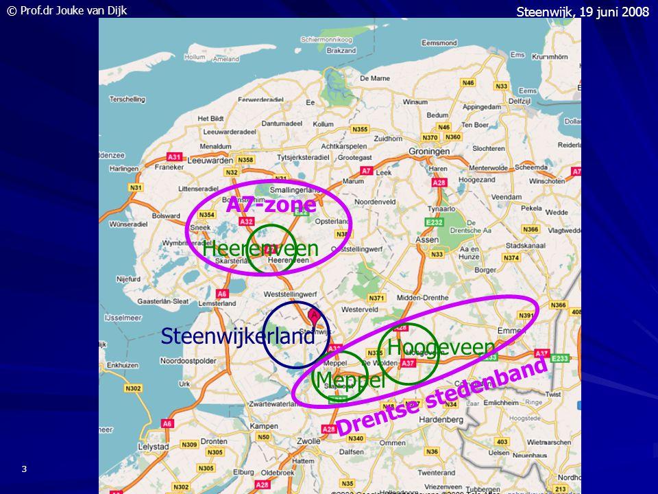 © Prof.dr Jouke van Dijk Steenwijk, 19 juni 2008 4 Kerncijfers Steenwijkerland 2007 en groei 2000-2007 Inwoners43.300+ 2.100 Beroepsbevolking 19.400+ 540 Banen (> 15 uur)14.860 + 2.460 Handel 2.970(20%) +760 Industrie 2.640(18%) +50 Zorg 2.200(15%) +770 Landbouw 1.290 (9%) -150 Horeca 1.110 (8%) +190 Bouw 1.050 (7%) +120 Zakelijke Dienst 1.000 (7%) +420 Overige 2.600 (17%) +300