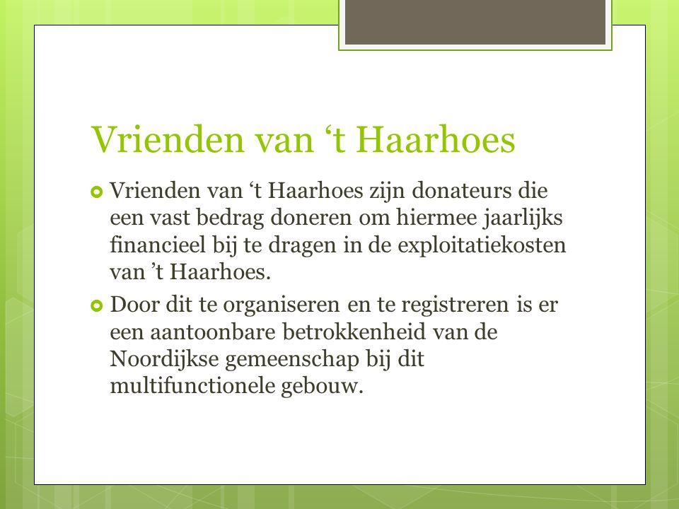 Vrienden van 't Haarhoes  Vrienden van 't Haarhoes zijn donateurs die een vast bedrag doneren om hiermee jaarlijks financieel bij te dragen in de exploitatiekosten van 't Haarhoes.