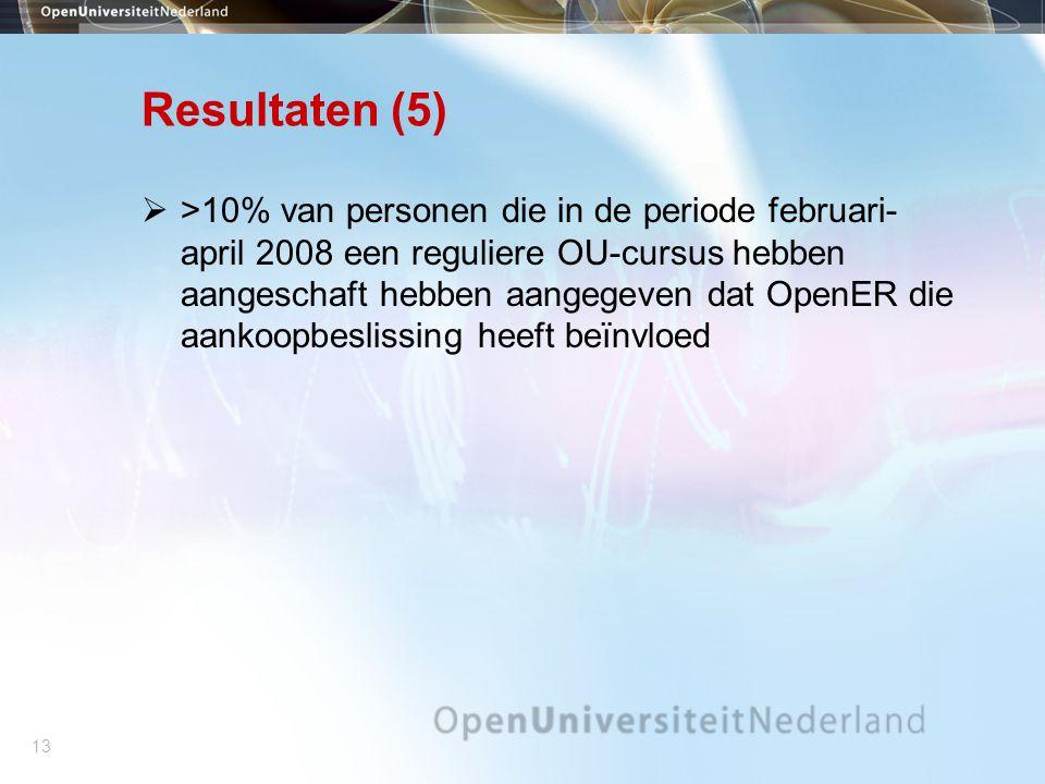 13 Resultaten (5)  >10% van personen die in de periode februari- april 2008 een reguliere OU-cursus hebben aangeschaft hebben aangegeven dat OpenER die aankoopbeslissing heeft beïnvloed