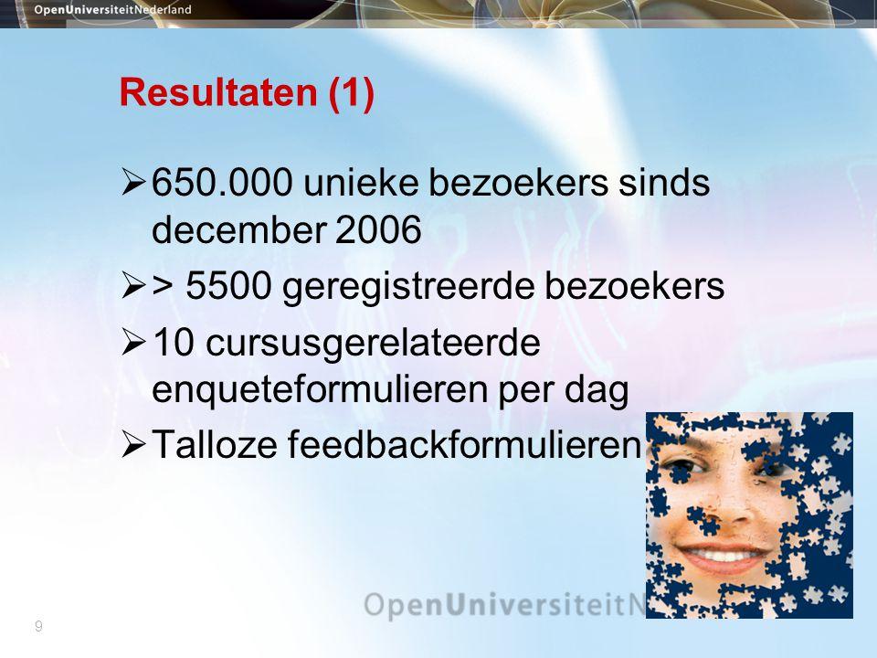 9 Resultaten (1)  650.000 unieke bezoekers sinds december 2006  > 5500 geregistreerde bezoekers  10 cursusgerelateerde enqueteformulieren per dag  Talloze feedbackformulieren