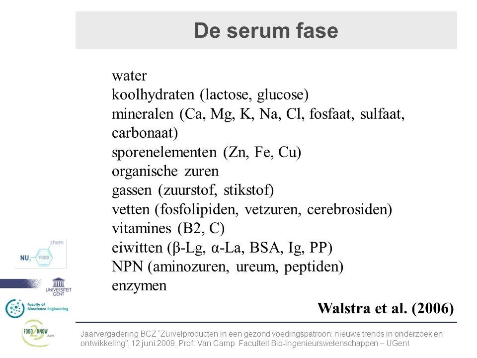 De serum fase Jaarvergadering BCZ Zuivelproducten in een gezond voedingspatroon: nieuwe trends in onderzoek en ontwikkeling , 12 juni 2009, Prof.